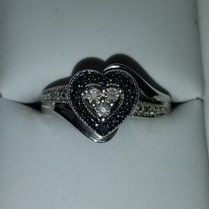 Sterling Silver Heart Ring w/ Blue & White Diamond